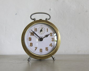 French Vintage Alarm Clock Bayard  Convex Glass Face