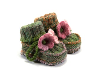 Knitted Toddler Booties with Crochet Bell Flowers, Non Slip Soles, Knit Baby Shoes - Green and Pink