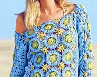 Crocheted blouse sweater lace  made to order crochet handmade chic elegant spring summer sexy