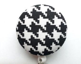 Houndstooth Badge Reel - Black And White Badge Holder - Retractable Badge Reel - ID Holder - Name Badge - Nurse Gift - Fabric Badge Reel