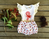 1st Christmas Candy Cane Baby Romper Bodysuit Onesie and bloomers