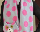 Grey Pink Spotted Flat Cat Fleece Scarf - Limited Edition