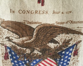 1976 Bicentennial Calendar Tea Towel, American Eagle, Red, White and Blue, Declaration of Independence