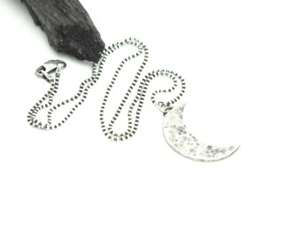 Moon Necklace Silver Jewelry Twilight Necklace Crescent Moon Silver Hammered Artisan Made