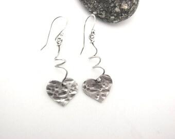 Heart Dangle Earrings Silver BoHo Hammered Rustic Jewelry Sterling Silver Drop Earrings PMC Eco Friendly