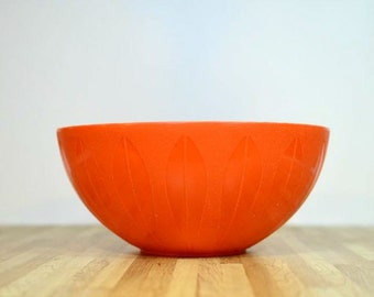 Vintage Cathrineholm Style Plastic Deka Lotus Bowl Retro Orange