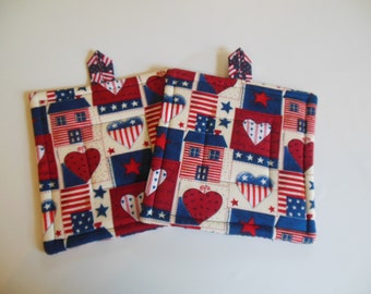 Patriotic, Election Year Potholders, Set of Two Quilted Potholders