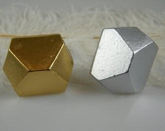 Geometric Knob / Gold Or Silver / Mid Century Modern Knob / Pull / Geo Home Cabinet Hardware / Gold Hardware Drawer Pull / Dresser Pulls