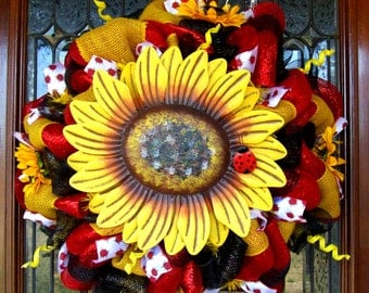 Welcome Sunflower Mesh Wreath