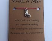 ICE SKATE #2 Silvertone Wish STRING Bracelet String Friendship Charm Lucky Amulet Cord Color Choice