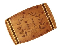 """Custom Engraved Laurel Wreath Monogram Cutting Board 18"""" x 11"""" Marbled Totally Bamboo - Classic Wedding Gift with Custom Initial and Names"""