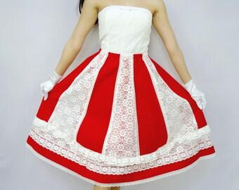 Cream Lace Skirt - Vintage - Lace Skirt - Red Velvet