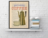 Coffee sign printed on dictionary book page- Art Giclee Print Illustration Wall Decor Good morning Wall Art coffee illustration BPTQ043b