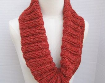 Alpaca infinity scarf red hand knitted