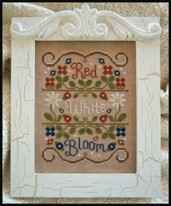 Red White & Bloom : Country Cottage Needleworks counted cross stitch patterns 4th of July hand embroidery Independence Day