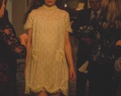 Primrose dress, pale yellow dress, yellow lace dress, 60s style dress, babydoll dress