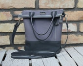 Minimalist Backpack, Grey Canvas Tote Bag, Customized Convertible Bag, Unique Handbags, Zipper Canvas Messenger Bag, Unisex Small Rucksack