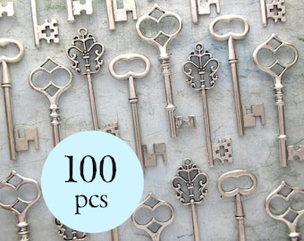 Wedding Favors - 100pcs Skeleton Keys - The Bennett Collection - Antique SILVER - Set of 100 Keys - 3 STYLES