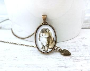 Rabbit Necklace - Handdrawn Rabbit Pendant, Rabbit Jewelry, Animal Art Jewelry