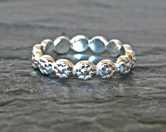 Flower Ring - Garland Ring Silver - Flower Crown Ring - Thumb Ring - Silver Stacking Ring - Large Ring - Floral Band Ring - Size 4 - 15