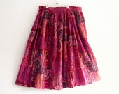 Plus Size Printed Patchwork Cotton Skirt