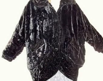 1920's Style Black Velvet Opera coat