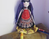 "Boho/Hippie Fabric Doll 28"""