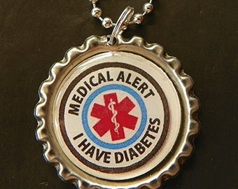 Diabetes Necklace medical alert necklace Diabetes awareness diabetes pendant medical alert pendant medical alert jewelry diabetes jewelry
