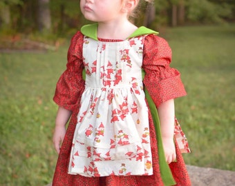 Wee Bitty Elf Pinafore and Peasant Dress-- size  12mos-8