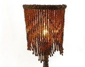 Table Lampshades PAIR Custom Brown Glass Beads With Chenille Trim Zig Zag Design