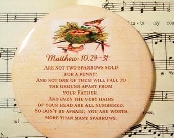 Scripture Magnet, Are Not Two Sparrows Sold For a Penny, Large Magnet, Matthew 10:29-31, Refrigerator Magnet, Housewarming Gift Magnet