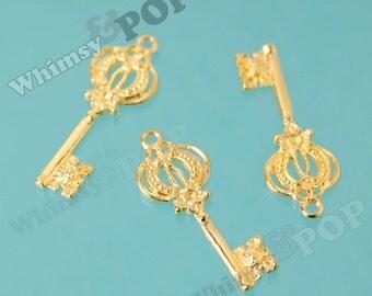 Gold Tone Victorian Style Ornate Skeleton Key Pendant Style Charms, Key Pendant, Key Charm, 44mm x 17mm (R9-069)