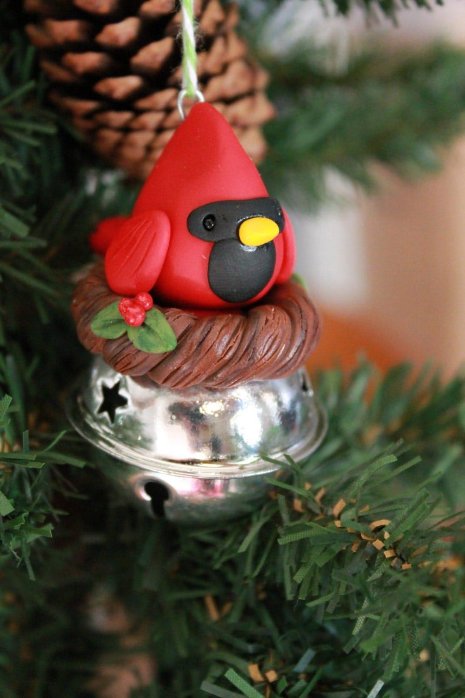 Cardinal ornament polymer clay christmas
