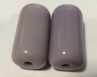 Vintage Bohemian Art Deco Lavender Cylinder Focal Point Beads 20x10mm QTY - 2
