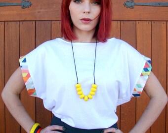 Unique, Organic T-Shirt White Women's Tee -Sustainable Fashion, Eco, Slow Fashion ;  Free Shipping