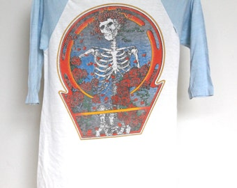 Vintage Grateful Dead Raglan Sleeve T Shirt Mens Small Unisex Womens Tee Shirt Tour Lot Greatful Dead Bertha Baseball Half Sleeve 80s 1980