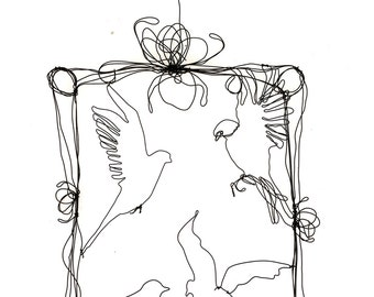 Large sculpture, birds pecking at my window, wire wall art, flying birds, home decor