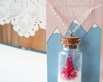 Dip Dyed Tiny Tree in Tiny Corked Bottle Necklace in Rainbow of Colors