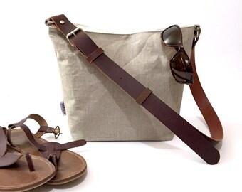 Natural Linen Crossbody Bag