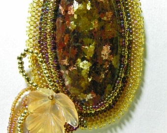Rare Wyoming Gem Quality Fire Jade Cabochon Beaded Necklace (N-001)
