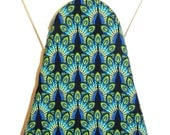 Ironing Board Cover - Teal blue and green peacock Fabric - Laundry and Housewares
