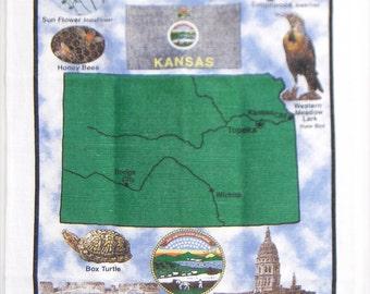 Vintage Dishcloth, Kansas Souvenir Printed Cloth, linen, buffalo, meadow lark, honey bees