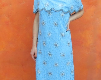 Vintage 1960s Light Blue Lace Pearl Silver Beaded Wiggle Dress. Party Cocktail Evening Formal. Large XL