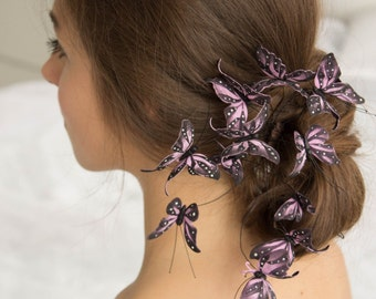 Purple Butterfly Comb Wholesale Hairpins Accessory Decoration Decor Butterflies Hair Piece Headpiece Bridal Wedding Birthday Prom Gift