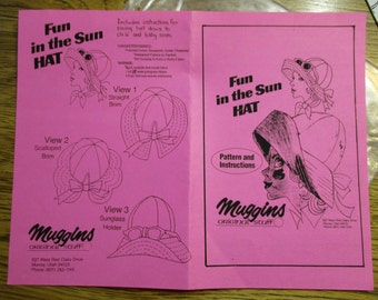 """VINTAGE """"Fun in the Sun"""" Hat - Wide Brimmed Retro Hat w/Adult & Baby Sizes - UNCUT Sewing Pattern by Muggins Original Stuff"""
