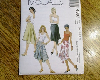 BOHO Fit and Flare Asymmetrical Skirt w/ Handkerchief Hemline - Choose Your Size - UNCUT Sewing Pattern McCalls 4307