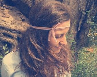 Fabric headband, The Fringe FiveBand, pink fabric headband, girl headband, recycled fabric headband, fabric yarn headband, pastel headband
