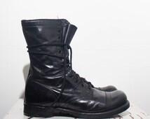 9.5 D | Vintage Corcoran Jump Boots Black Paratrooper Cap Toe Military Boots w/ Vibram Soles