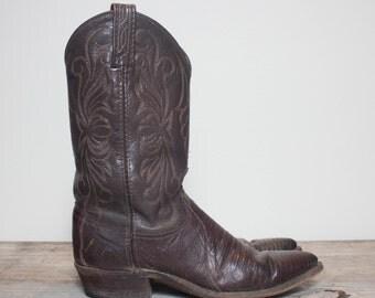 7 M | Women's Dan Post Lizard Western Boots Dark Brown Cowboy Boots