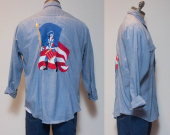 XL | 1970's Vintage JC Penny Bi-Centennial Embroidered Selvedge Chambray Button Down Shirt